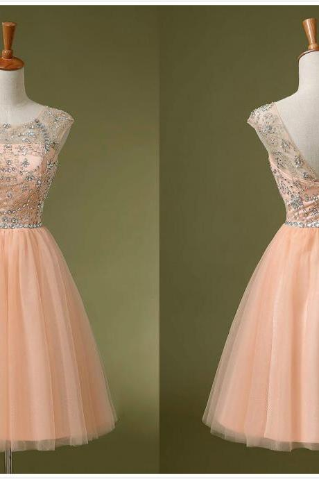 2017 Charming Crystal Homecoming Short Prom Dresses Knee-Length Beads Scoop Neck V-Back Cocktail Party Gowns Cheap 100% Real Picutre