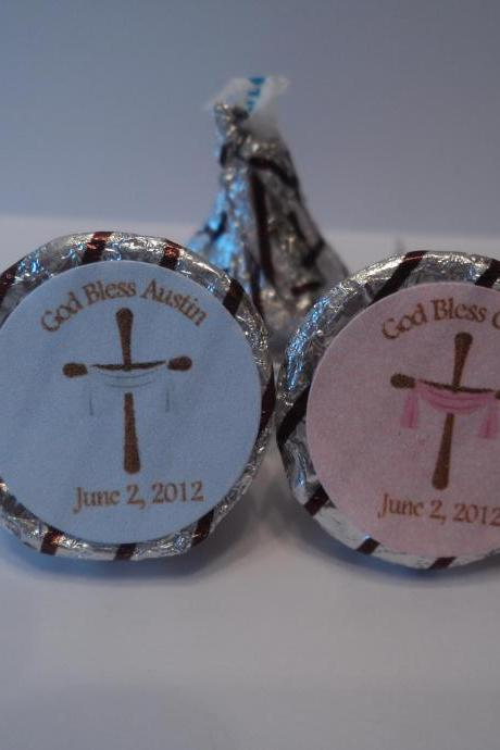 Hershey Kiss Stickers - Baptism/Christening