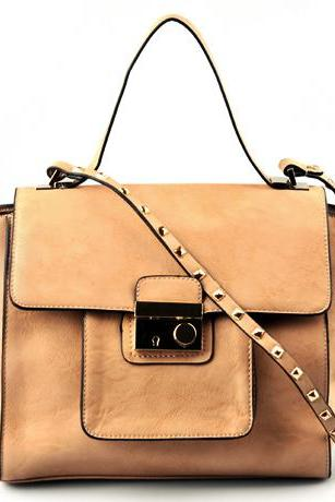 Beige Leather Handbag. Tan Hobo. Beige Satchel. Beige Handbag.