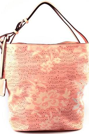 Coral Leather Handbag. Strawberry Ice Beige Handbag. Pastel Handbag. Beige Satchel. Pale Pink Hobo. Beige Purse.
