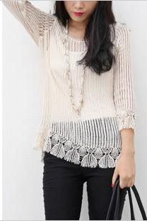 Retro hollow horn sleeve blouse perspective KN0116BC