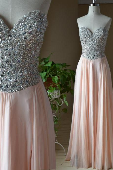 Handmade High Quality A-line Chiffon Beadings and Rhinestones Long Prom Dresses 2015, Prom Gown 2015, Formal Dresses. Evening Dresses