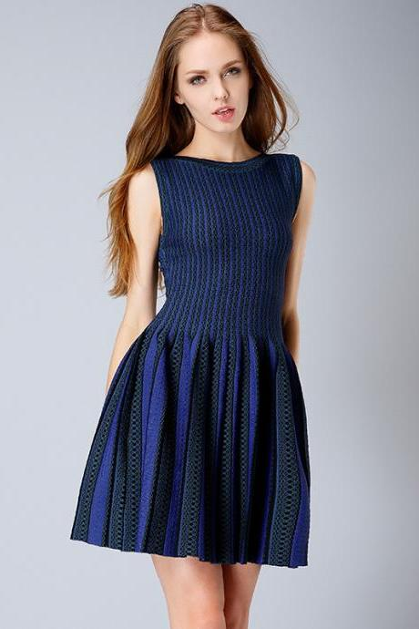 Slim woolen striped dress bottoming