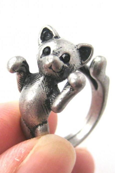 3D Two Tailed Kitty Cat Animal Ring Sizes 5 To 9 Available