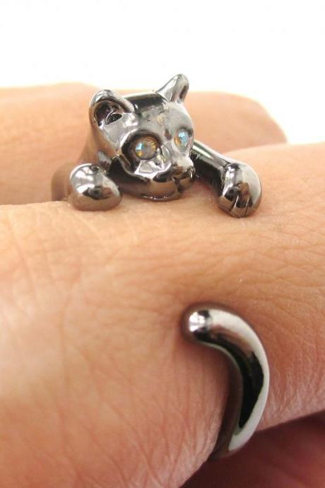 Adorable Kitty Cat Animal Pet Wrap Around Hug Ring In Gunmetal Silver - Size 3 To Size 8.5