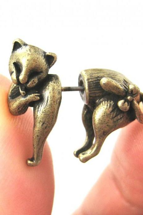Cute Fake Gauge Kitty Cat Cute Animal 3D Plug Stud Earrings In Bronze