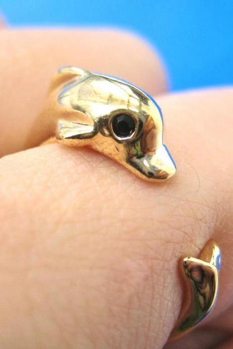 Realistic Dolphin Sea Animal Wrap Hug Ring In SHINY Gold - Sizes 4 To 7