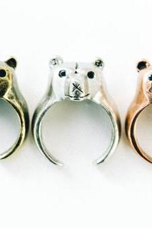 Polar bear face ring,animal ring,adjustable rings,,cute ring,cool ring,couple ring,mens rings,unique ring,bridesmaid gift,Gift idea,SKD599