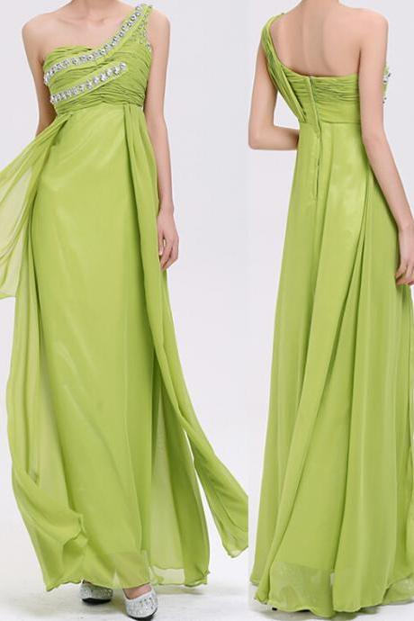 Elegant Chiffon Evening Dress A-Line One-Shoulder Evening Dress Long Prom Dress