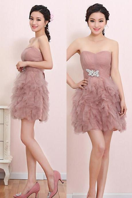 Fashion Tulle Party Dress Sweetheart Graduation Dress Mini Girl Party Dress