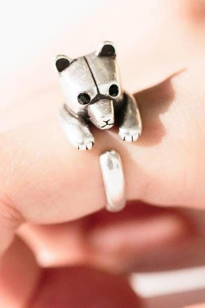 Cute bear ring,,animal ring,adjustable rings,,cute ring,cool ring,couple ring,bridesmaid gift,Gift idea,antique silver bear ring,