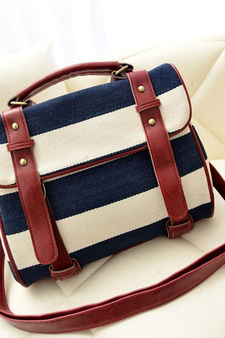 Fashion Blue Striped Canvas Handbag & Shoulder Bag