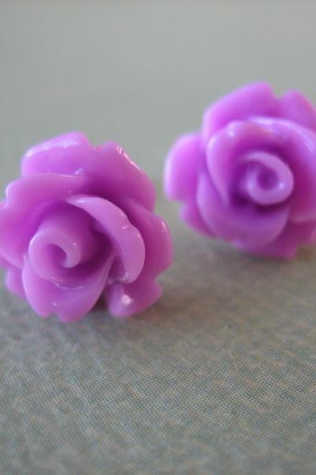Adorable Mini Rose Earrings - Lavender - Jewelry by FIVE