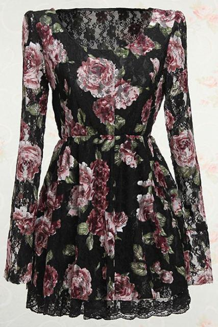 Black Blouse Long Sleeve Black Lace Printed Rose Stretch Black Victorian Blouses for Women READY FOR SHIPPING