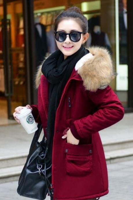 Red Down Parkas Winter Jackets Outwear for Women Winter Down Parkas Military Jackets