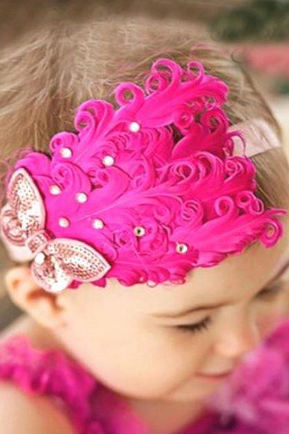 Hotpink Headdress Hotpink Feather hair Accessories for Girls