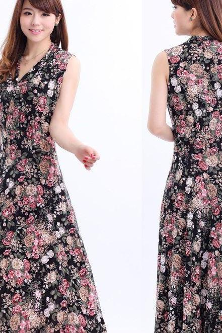 Spring Black Maxi Dress Stretchy with Printed Flowers Summer and Spring Dress