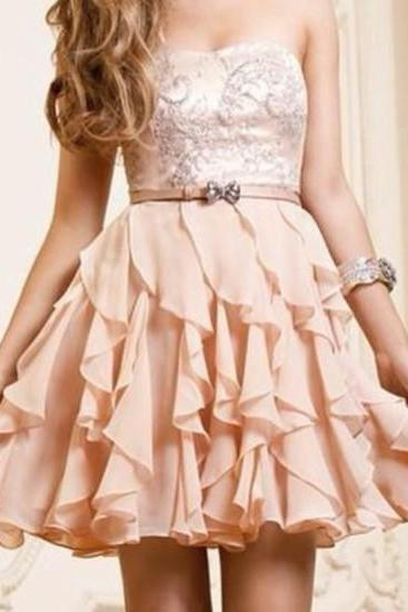 2015 New Short Pearl Pink A-line Scopp Neckline Mini Prom/Homecoming Dress