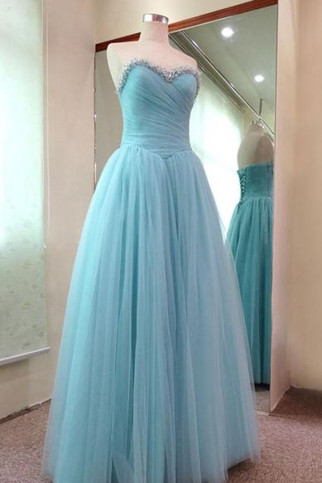 2015 Elegant Sweetheart Prom Dress Sequined Tulle Prom Dress Long A-Line Evening Dress