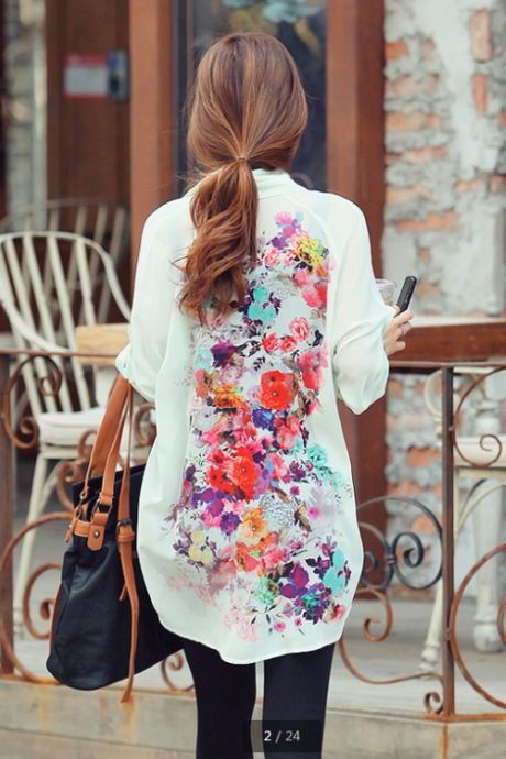 Women Loose Long Sleeve flower chiffon Blouse shirt Top