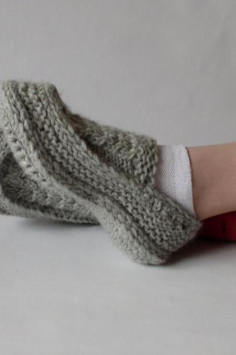 Knit Crochet Socks/Slippers in Natural Grey with Irish Traditional Aran Knitting Cables Motifs, Hand Knitted Women Home Shoes