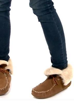 Idaho Womens Sheepskin Moccasins Bootie Slippers