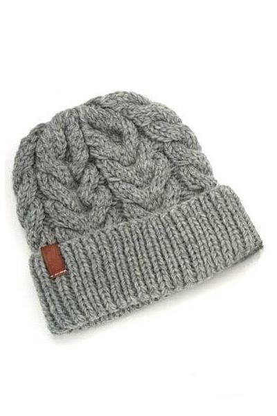 Cabled Knit Hat Mens Beanie GREY Cable Guys Cap