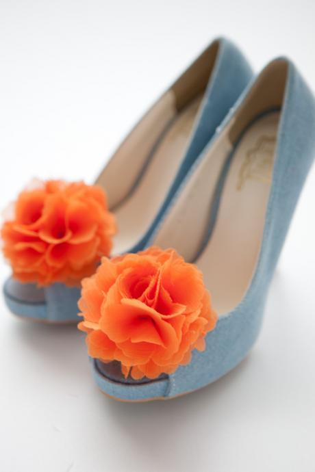 1 Pair(Set of 2)-ORANGE-Chiffon flower shoe clips for bridal wedding/Choose your color