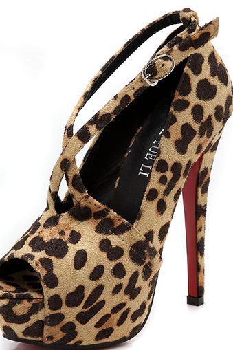 Super sexy leopard high heels spring new European and American fine fish head with cross straps shoes