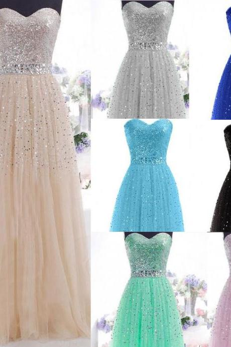 Beaded Long Women Formal Evening Bridesmaid Dresses Party Prom Ballgown Long