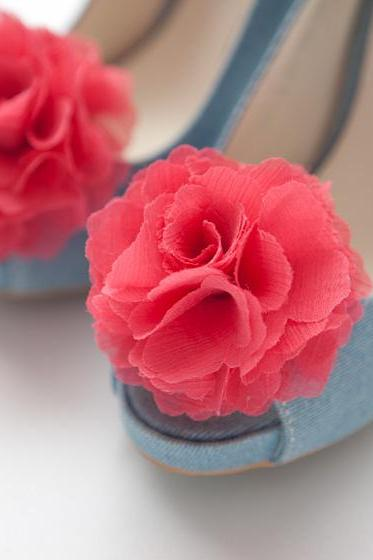 1 Pair(Set of 2)-Guava Pink-Chiffon flower shoe clips for bridal wedding/Choose your color