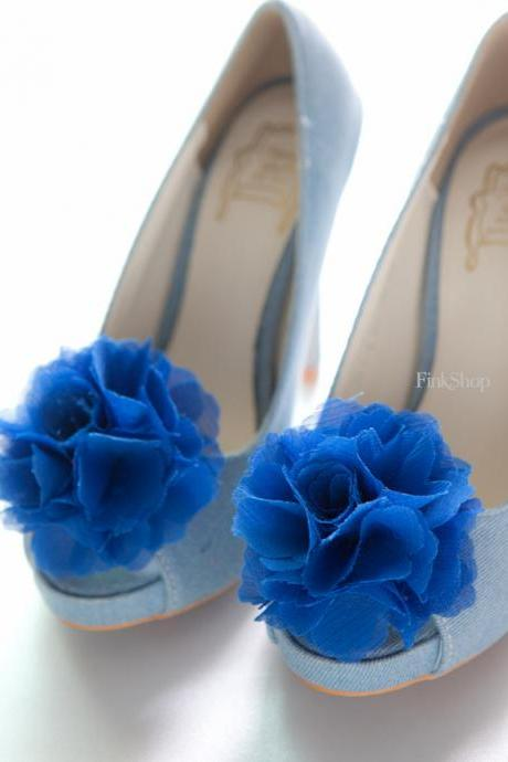 1 pair (Set of 2) Royal Blue Chiffon flower shoe clips for bridal wedding /Choose your color