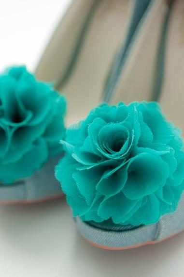 1 pair (Set of 2) Teal green Chiffon flower shoe clips for bridal wedding /Choose your color