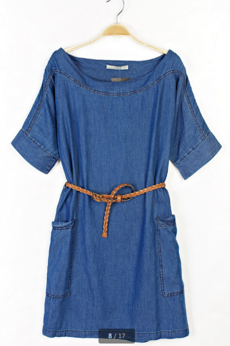 Loose denim dress