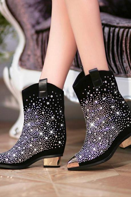 Black Pointed Toe Leather Low Blocked Heel Rhinestones Boots