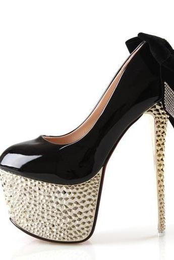 Patent Leather Stiletto Pumps with Rhinestone Embellished Ribbon , Bridal Shoes, Prom Heels