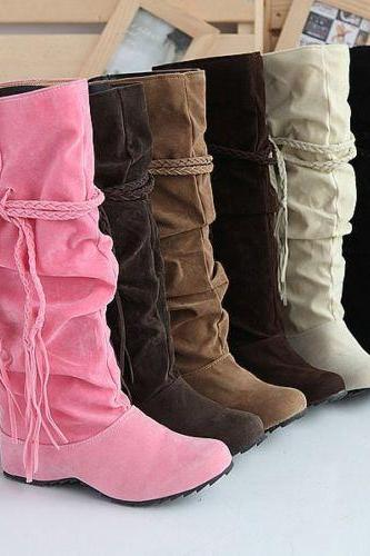 Ladies Fashion Faux Suede Slouchy Boho Fringe Mid Calf Boots Shoes