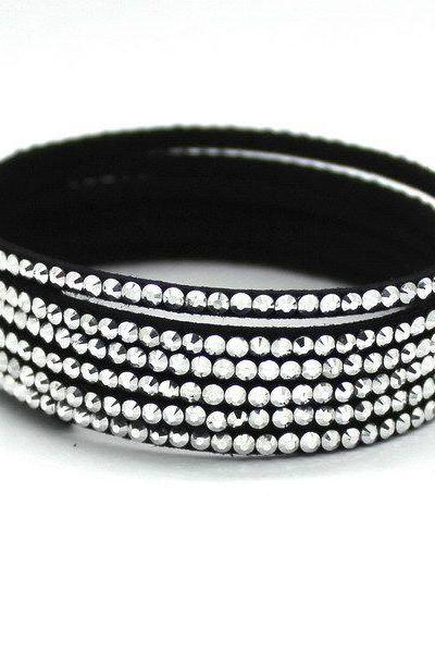 Multilayer white rhinestones unisex PU leather bracelet