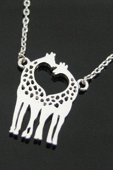 Two Giraffes In Love Necklace Giraffe Couple Necklace In Silver Loving Giraffes Animal Jewelry HH0HMWN0R13JM6G7CAAC9