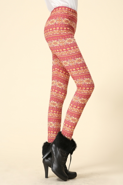 orange/brick red Stripe Leggings