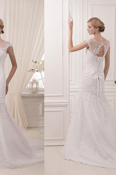 New Arrival Wedding Dresses,Floor-Length Wedding Dresses, O-Neck Wedding Dresses, White Chiffon Lace Wedding Dress, Tulle Wedding Dresses, Dresses For Wedding