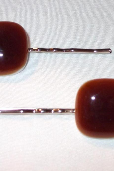Handmade Bobby Pin Set, Beautiful Chocolate Fused Glass
