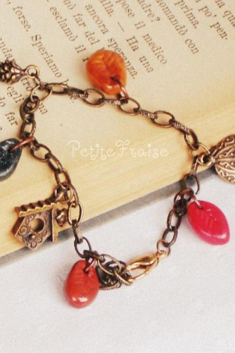 Walking in the wood in an Autumn morning, 'Treasures' collection, vintage style bracelet, brass, red, green, gold, brown