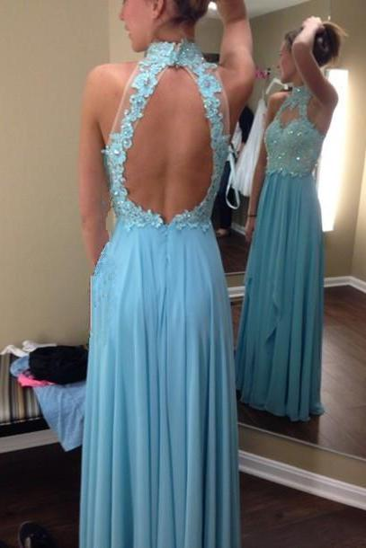 Beautiful Open Back Blue Floor Length Halter Appliques Prom Dresses 2016, Prom Gown 2016, Blue Prom Dresses 2016, Evening Gown