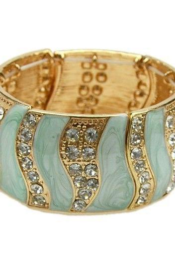 Rhinestones bangle green fashion woman jewelry bracelet