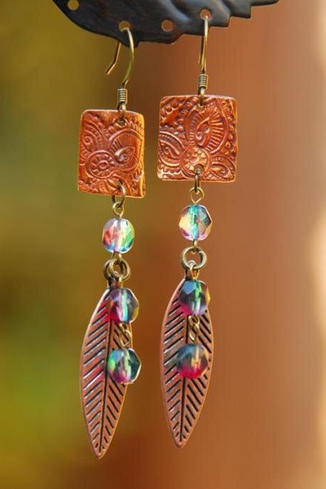 Copper Rectangle and leaf earrings with red-green beads