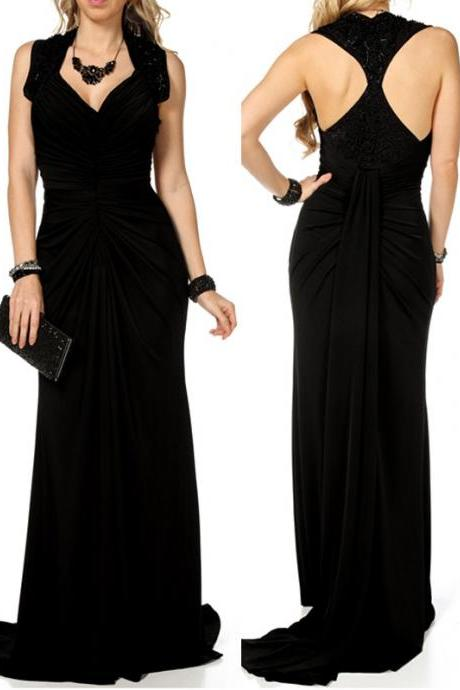 Fashion A-Line Evening Dress Sexy Backless Evening Dress V-Neck Long Evening Dress