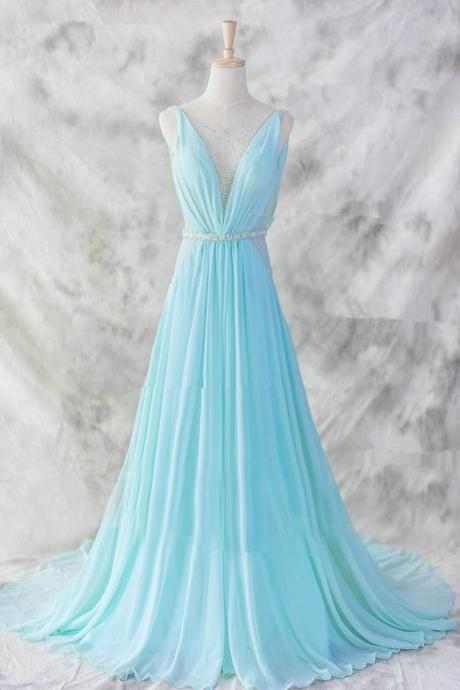 Pretty Baby Blue Chiffon Floor Length V-neckline Prom Gown 2017, Baby Blue Evening Dresses , Blue Formal Dresses, Formal Dresses