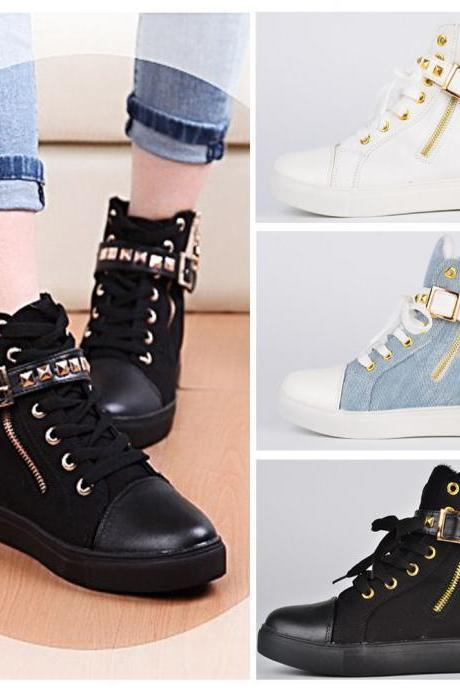 New Hot Women Flat Rivets Buckle Zipper Walking Casual Sneakers Canvas