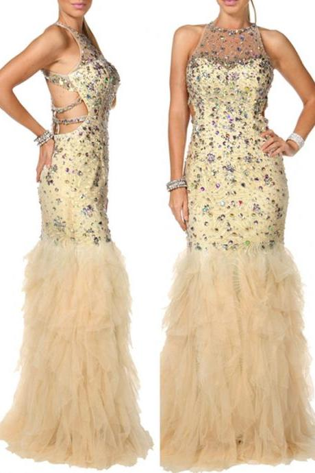 2015 Sexy Mermaid Prom Dress Sequined Backless Prom Dress Long Halter Prom Dress